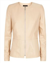 Jaeger - Natural Leather Waisted Jacket - Lyst