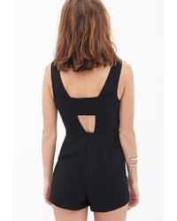 Forever 21 - Black Woven Cutout Romper - Lyst