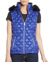 Saks Fifth Avenue | Blue Faux Fur-trimmed Quilted Down Vest | Lyst