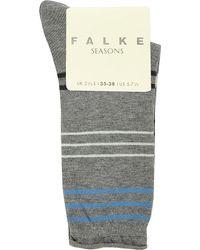 Falke | Gray Stripe Socks | Lyst