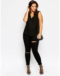 Asos Curve | Black Vest Top With V Back & Front | Lyst