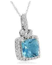 Amanda Rose Collection - Metallic 10k White Gold Pendant-necklace With Swarovski Cut Blue And White Topaz (3ct Tgw) - Lyst