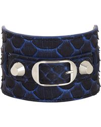 Balenciaga | Blue Python Ligne Classic Bracelet | Lyst