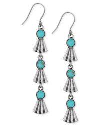 Lucky Brand - Blue Silver-tone Stone Dangle Earrings - Lyst