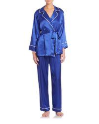 Oscar de la Renta | Blue Three-piece Pajama Set | Lyst