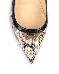 Jimmy Choo Black Hype Snakeskin & Patent Leather Point Toe Pumps