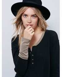 Free People | Black We The Free Womens We The Free Ringer Henley | Lyst