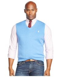 Polo Ralph Lauren | Blue Big & Tall Pima V-neck Vest for Men | Lyst