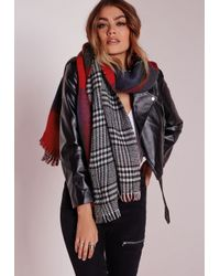 Missguided | Dogtooth & Check Reversible Scarf Blue | Lyst