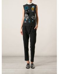 Dolce & Gabbana - Gray Floral Embroidered Tank Top - Lyst