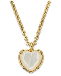 Kate Spade | Metallic Gold-tone Heart Stone Pendant Necklace | Lyst