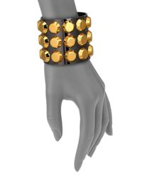 Reed Krakoff | Metallic T-Bar Two-Tone Studded Cuff Bracelet | Lyst