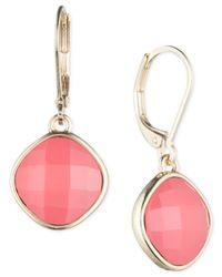 Nine West | Pink Stone Drop Leverback Earrings | Lyst