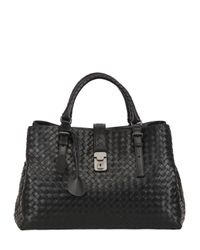 Bottega Veneta | Black Roma Classic Intreccio Nappa Leather Bag | Lyst