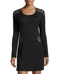 La Perla - Black Iris Lace-panel Sleepshirt - Lyst