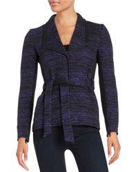 Tahari Multicolor Belted Knit Jacket