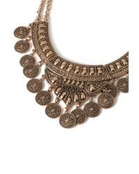 Forever 21 - Metallic Etched Coin Bib Necklace - Lyst