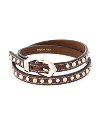 Givenchy | Brown Studded Wrap Bracelet | Lyst