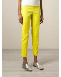 Philosophy - Yellow Cropped Front Pleat Trousers - Lyst