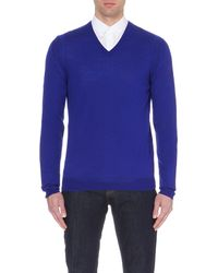 McQ | Blue V-neck Wool Jumper, Men's, Size: S, Cobalt for Men | Lyst