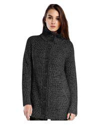 Michael Stars | Black Multi Stitch Mock Neck Sweater Coat | Lyst