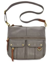 Fossil | Gray Morgan Leather Top Zip Crossbody | Lyst