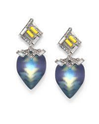 Alexis Bittar - Blue Neon Deco Lucite & Crystal Desert Drop Earrings - Lyst