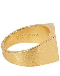 All_blues - Metallic Gold-Plated Brushed Platform Ring for Men - Lyst