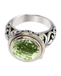 Effy | Green Balissima Sterling Silver And 18 Kt. Yellow Gold Amethyst Ring | Lyst