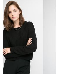 Mango - Black Chunky-Knit Sweater - Lyst