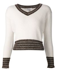 Rodarte | White Contrast Trim V-neck Sweater | Lyst