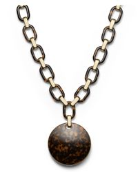 Michael Kors - Brown Link Disc Necklace Goldentortoise - Lyst