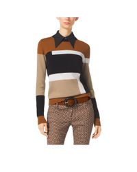 Michael Kors | Brown Color-block Intarsia Cashmere Sweater | Lyst