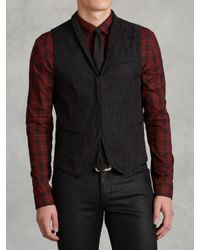 John Varvatos | Black Linen Shawl Collar Vest for Men | Lyst