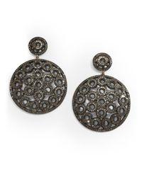 Bavna - 6.54 Tcw Pavà Diamond & Blackened Sterling Silver Medallion Drop Earrings - Lyst