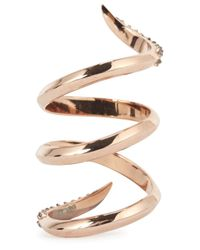 Katie Rowland - Metallic Twisted 18Kt Rose Gold Ring - Lyst