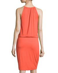 Three Dots - Multicolor Wrap-front Sleeveless Dress - Lyst