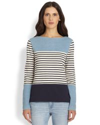 M.i.h Jeans | Blue Colorblock Breton-striped Tee | Lyst
