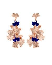 Aurelie Bidermann | Pink Ginkgo Lacquered Rose-gold Plated Clip-on Earrings | Lyst