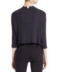 Free People | Black Cropped Mock-neck Sweater | Lyst