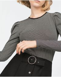Zara | Black Long Sleeve Top | Lyst