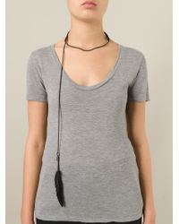 Ann Demeulemeester - Black Chain Feather Necklace - Lyst