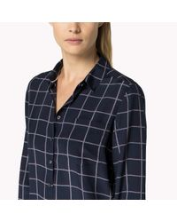 Tommy Hilfiger | Blue Silk Check Blouse | Lyst