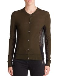 Marc By Marc Jacobs - Green Holly Mixed-media Cardigan - Lyst