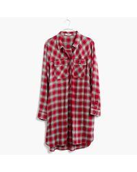 Madewell - Red Daywalk Shirtdress In Fairfax Plaid - Lyst