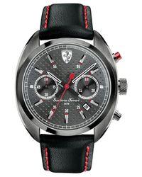 Ferrari - Scuderia Men's Chronograph Formula Sportiva Black Leather Strap Watch 43mm 830209 for Men - Lyst