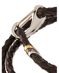 Paul Smith - Brown-Leather Wrap Bracelet for Men - Lyst