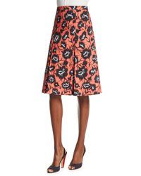 Carolina Herrera - Orange Floral-print A-line Party Skirt - Lyst