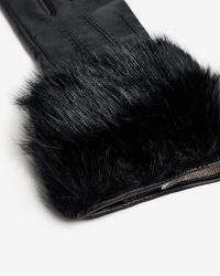 Ted Baker - Black Jania Faux Fur Leather Gloves - Lyst