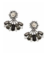 Marchesa | Gray Faux Pearl Jeweled Cluster Earrings | Lyst